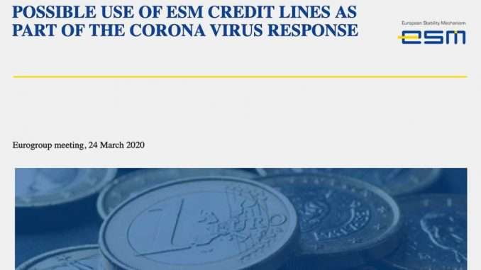 possible use of ESM credit lines as part of the corona virus response