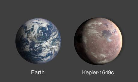 Confronto fra ledimensioni dellla Terra e del pianeta Kepler-1649c (fonte: NASA/Ames Research Center/Daniel Rutter)
