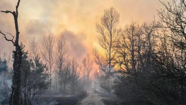 Incendio a Chernobyl (Ansa)