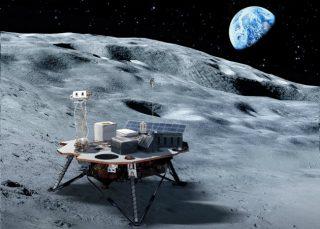 In questa ricostruzione, uno dei lander che, prima della realizzazione della futura base lunare, trasporteranno i materiali necessari sulla superficie del nostro satellite naturale | Nasa