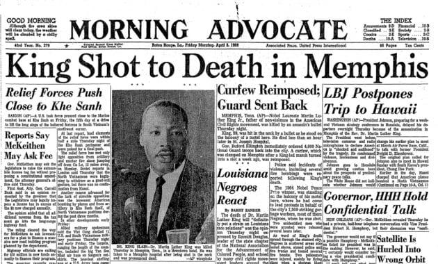 La prima pagina del Morning Advocate, quotidiano di Baton Rouge (Luisiana) del 5 aprile 1968.|