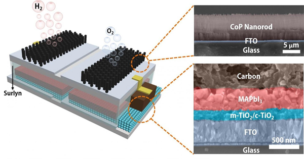 """Ecco la """"foglia artificiale"""": un dispositivo autosufficiente che produce idrogeno e ossigeno assorbendo la luce."""