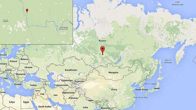 Tunguska, Russia, area interessata il 30 Giugno 1908 dall'evento catastrofico. Mappa fonte Google.