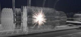 Illustrazione di un evento di collisione in un rivelatore del futuro collisore del CERN (©Polar Media)