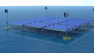 Piattaforma galleggiante modulare crea energia da onde, vento e luce solare