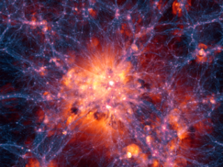 Simulazione di materia oscura e gas. Crediti: Illustris Collaboration