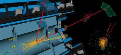 Visualizzazione di un evento di collisione nel rivelatore ATLAS in cui si osservano due muoni (in rosso) di massa compatibile con quella del bosone di Higgs, e due getti di altre particelle (in giallo) (© ATLAS/CERN)
