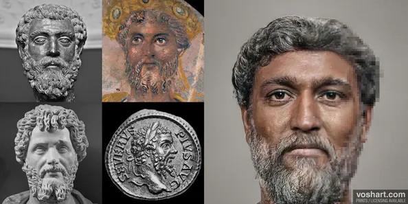 La ricostruzione dell'imperatore romano Settimio Severo