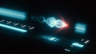 Schema del funzionamento in un acceleratore al plasma laser: un forte laser (rosso) genera un'onda di plasma (blu) che attraversa un gas di idrogeno strappando gli elettroni dalle molecole. Gli stessi elettroni sfruttano poi l'onda per spingersi ad energie molto alte (credito: DESY, Science Communication Lab)