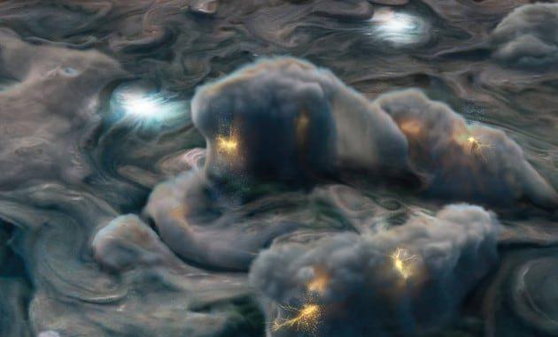 Illustrazione: rappresentazione grafica di come potrebbero apparire le tempeste elettriche ad alta quota nell'atmosfera di Giove.   Nasa / JPL