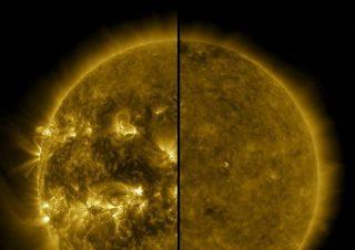 A sinistra il Sole durante il massimo solare (aprile 2014), a destra il Sole durante il minimo solare (dicembre 2019) (fonte: NASA / SDO) © ANSA/Ansa