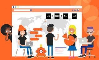 Il countdown segna che manca meno di un'ora all'avvio ufficiale della Europe Code Week 2020