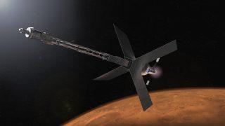 Illustrazione di un habitat di transito su Marte e di un sistema di propulsione nucleare che un giorno potrebbe portare gli astronauti su Marte. Credito: NASA