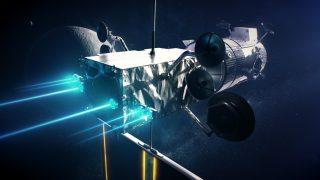 Un'illustrazione del PPE-HALO in orbita lunare. Credito: NASA