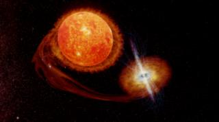 L'immagine riporta un modello 3D che riproduce una visione artistica di una Low-Mass X-ray Binary (Lmxb), un sistema binario composto da una stella evoluta di piccola massa, una gigante rossa (la stella donatrice da cui materiale stellare viene sottratto) ed una stella di neutroni (su cui il materiale stellare sottratto alla stella compagna precipita). Modello 3D disponibile al link https://skfb.ly/6QVF8