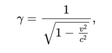 γ=1√1−v2c2