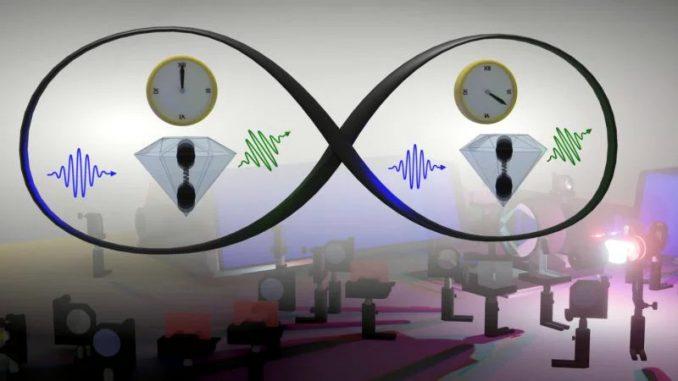 """Un'illustrazione che rappresenta la """"vibrazione comune"""" della luce e degli atomi descritta in questo studio. Credito: Christophe Galland (EPFL)"""