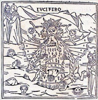 Una rappresentazione di Lucifero nella prima edizione illustrata della Divina Commedia (1491).