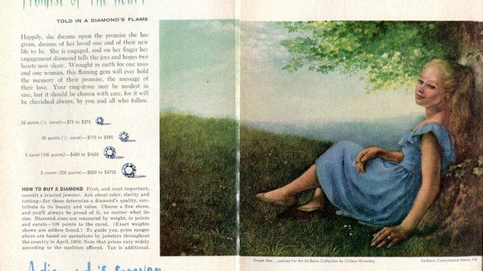 Una pubblicità di De Beers del 1960 nella rivista Reader's Digest (SensaiAlan/Flickr)