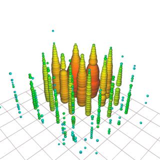 """Rappresentazione dell'evento registrato da IceCube. Ogni cerchio colorato mostra un sensore attivato dall'evento. I cerchi rossi indicano i sensori attivati per primi, quelli verde-blu i sensori attivati in seguito. L'evento è stato soprannominato """"Hydrangea"""". Crediti: IceCube Collaboration"""