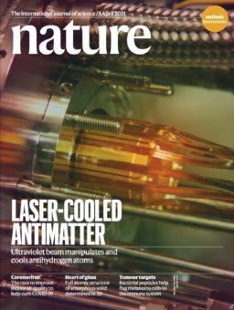La copertina dell'ultimo numero di Nature, dedicata all'esperimento di raffreddamento laser dell'anti-idrogeno. Crediti: Nature