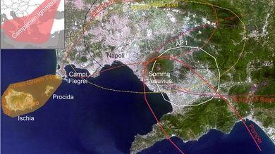 L'area napoletana con i suoi tre vulcani, Campi Flegrei, Ischia, Procida e Somma-Vesuvio e la distribuzione areale delle principali eruzioni esplosive © INGV