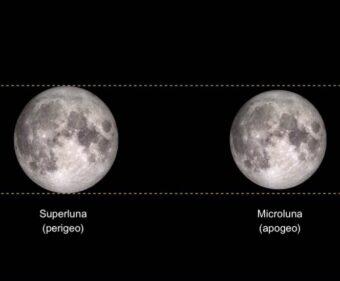 Un confronto tra le dimensioni apparenti della Luna piena al perigeo, ovvero alla minima distanza dalla Terra (a sinistra) e all'apogeo, la massima distanza dal nostro pianeta (a destra). Crediti: Nasa