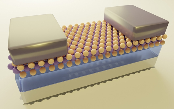 Illustrazione di un transistor semiconduttore monostrato