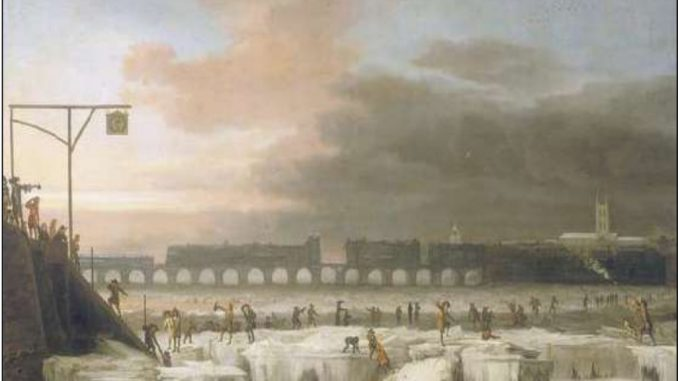 Il Tamigi ghiacciato (1677), dipinto di Abraham Hondius (Museum of London).