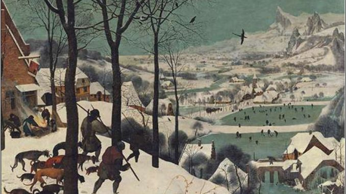 Paesaggio d'inverno, olio su tavola di Pieter Bruegel il Vecchio (1565). Vienna, Kunsthistorisches Museum. L'opera fu dipinta verosimilmente durante il gelido inverno del 156465, ricordato dalle cronache come uno dei più rigidi della storia, con temperature polari in Russia, nelle Fiandre, in Germania ed in quasi tutta Europa.