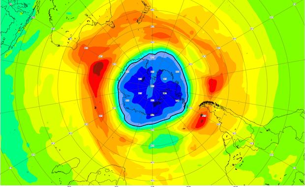 Mappa del buco dell'ozono sull'Antartide sulla base dei dati del 16 settembre (fonte: ESA/CAMS) © ANSA/Ansa