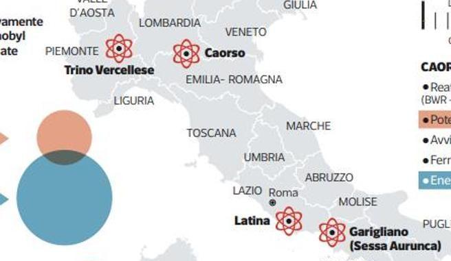 La mappa delle ex centrali nucleari in Italia