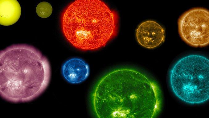 Il Sole, osservato con diversi strumenti e in falsi colori (NASA)